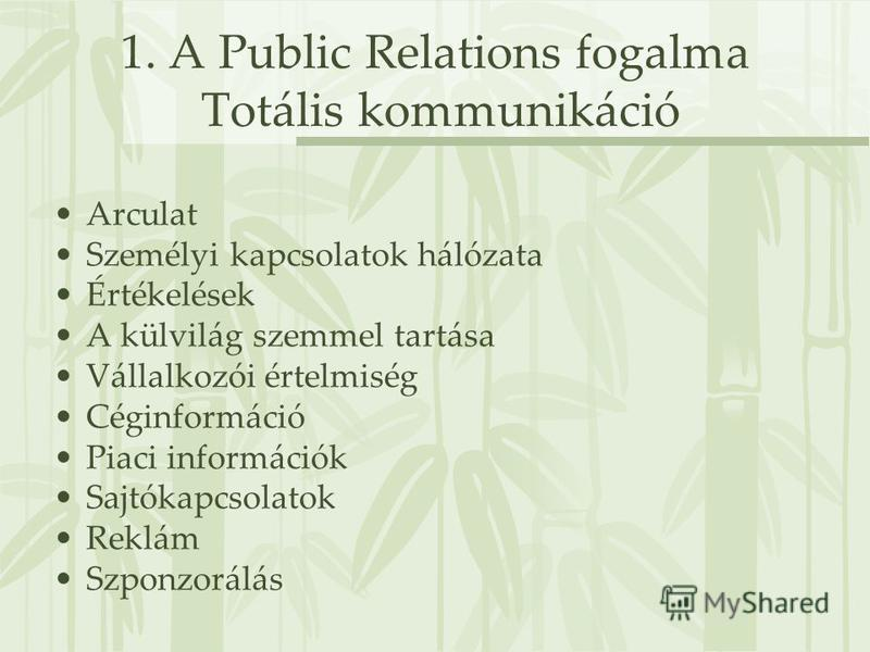 1. A Public Relations fogalma Totális kommunikáció Arculat Személyi kapcsolatok hálózata Értékelések A külvilág szemmel tartása Vállalkozói értelmiség Céginformáció Piaci információk Sajtókapcsolatok Reklám Szponzorálás