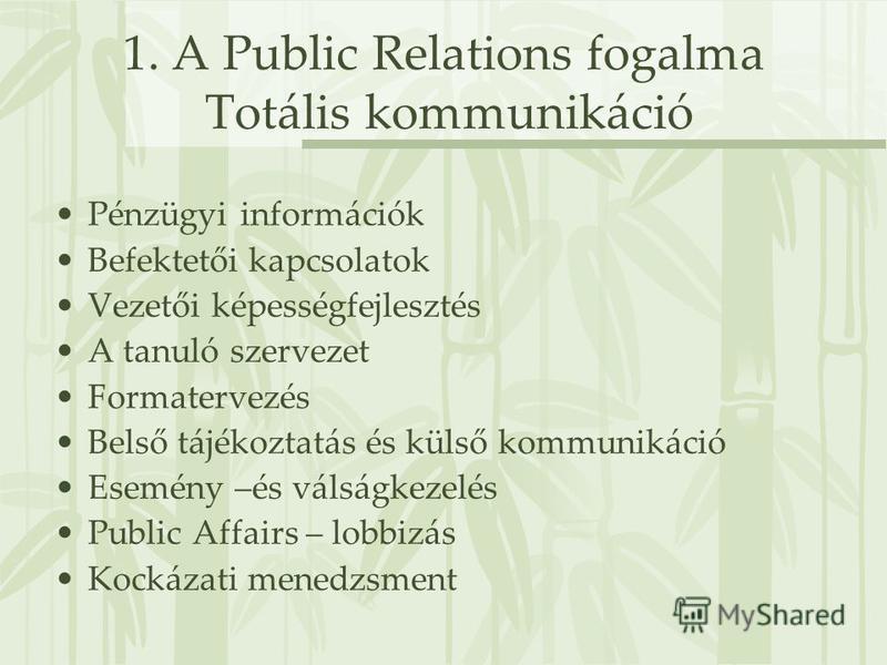 1. A Public Relations fogalma Totális kommunikáció Pénzügyi információk Befektetői kapcsolatok Vezetői képességfejlesztés A tanuló szervezet Formatervezés Belső tájékoztatás és külső kommunikáció Esemény –és válságkezelés Public Affairs – lobbizás Ko