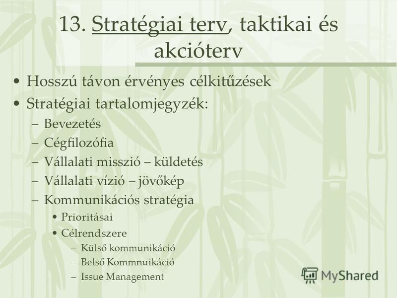 13. Stratégiai terv, taktikai és akcióterv Hosszú távon érvényes célkitűzések Stratégiai tartalomjegyzék: –Bevezetés –Cégfilozófia –Vállalati misszió – küldetés –Vállalati vízió – jövőkép –Kommunikációs stratégia Prioritásai Célrendszere –Külső kommu