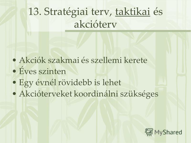 13. Stratégiai terv, taktikai és akcióterv Akciók szakmai és szellemi kerete Éves szinten Egy évnél rövidebb is lehet Akcióterveket koordinálni szükséges