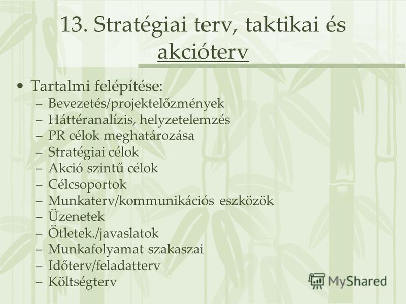 13. Stratégiai terv, taktikai és akcióterv Tartalmi felépítése: –Bevezetés/projektelőzmények –Háttéranalízis, helyzetelemzés –PR célok meghatározása –Stratégiai célok –Akció szintű célok –Célcsoportok –Munkaterv/kommunikációs eszközök –Üzenetek –Ötle