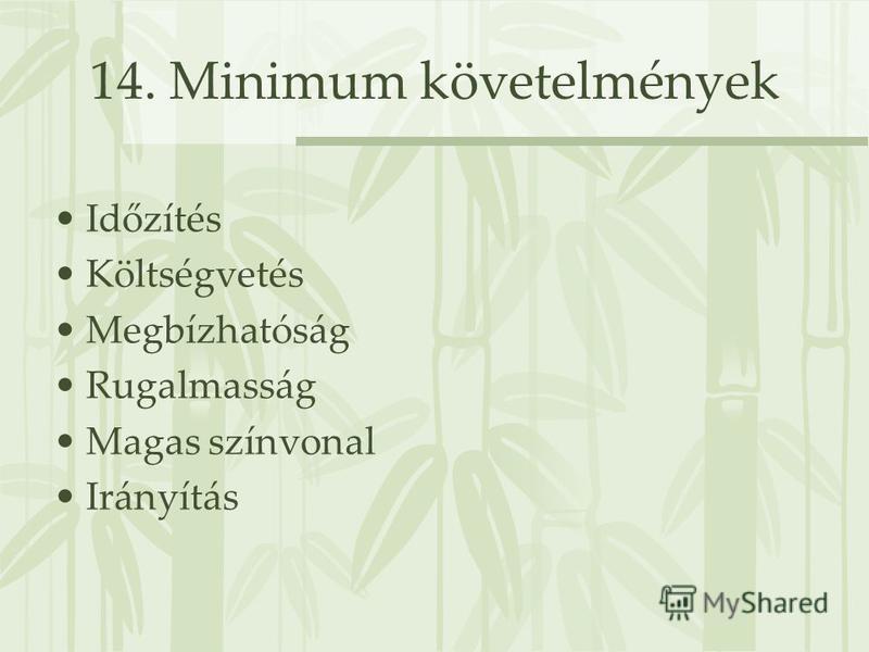 14. Minimum követelmények Időzítés Költségvetés Megbízhatóság Rugalmasság Magas színvonal Irányítás