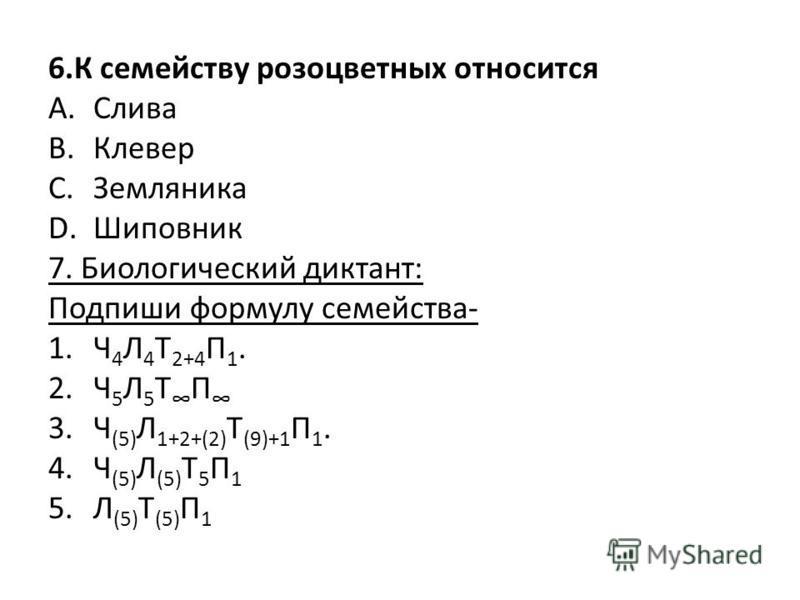 6. К семейству розоцветных относится A.Слива B.Клевер C.Земляника D.Шиповник 7. Биологический диктант: Подпиши формулу семейства- 1. Ч 4 Л 4 Т 2+4 П 1. 2. Ч 5 Л 5 Т П 3. Ч (5) Л 1+2+(2) Т (9)+1 П 1. 4. Ч (5) Л (5) Т 5 П 1 5. Л (5) Т (5) П 1