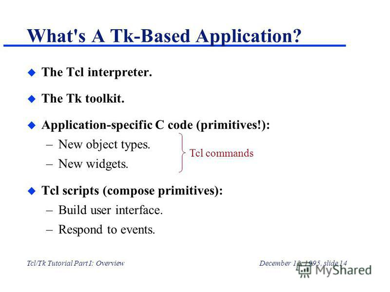 Tcl/Tk Tutorial Part I: OverviewDecember 12, 1995, slide 14 u The Tcl interpreter. u The Tk toolkit. u Application-specific C code (primitives!): –New object types. –New widgets. u Tcl scripts (compose primitives): –Build user interface. –Respond to