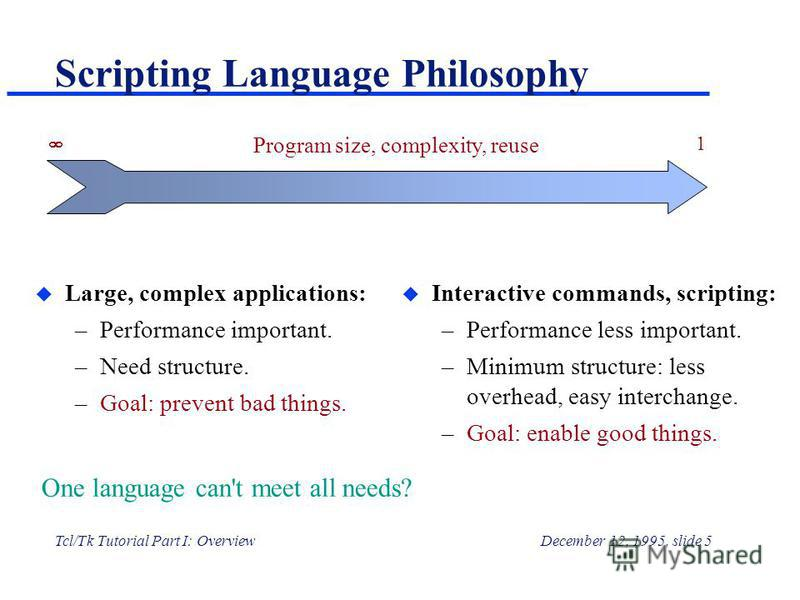 Tcl/Tk Tutorial Part I: OverviewDecember 12, 1995, slide 5 Scripting Language Philosophy u Large, complex applications: –Performance important. –Need structure. –Goal: prevent bad things. u Interactive commands, scripting: –Performance less important