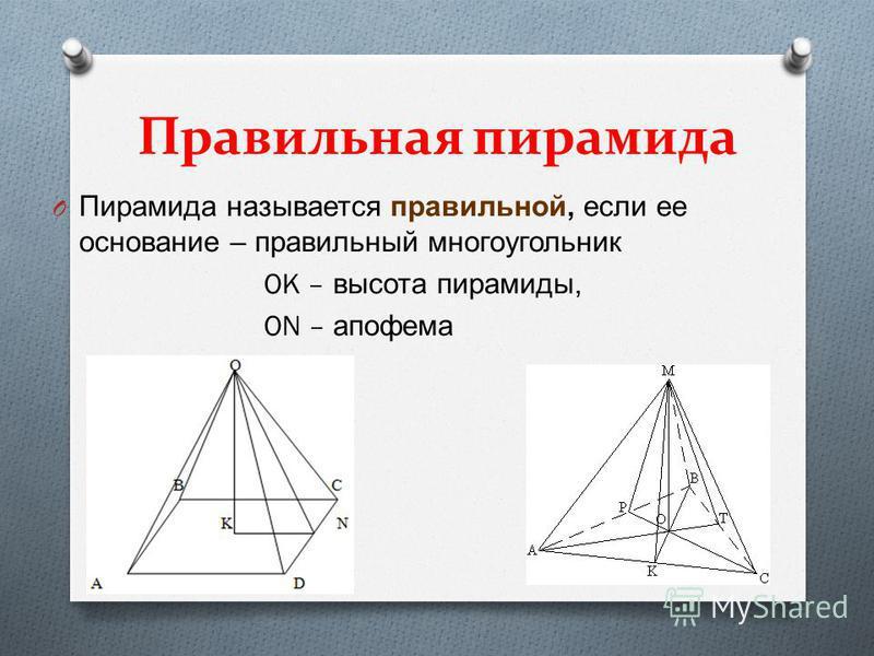 Правильная пирамида O Пирамида называется правильной, если ее основание – правильный многоугольник OK – высота пирамиды, ON – апофема