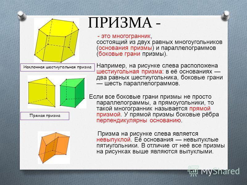 ПРИЗМА - - это многогранник, состоящий из двух равных многоугольников ( основания призмы ) и параллелограммов ( боковые грани призмы ). Например, на рисунке слева расположена шестиугольная призма : в её основаниях два равных шестиугольника, боковые г