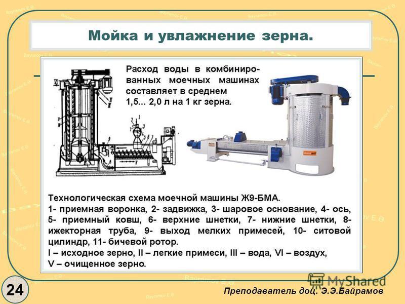 Мойка и увлажнение зерна. 24 Преподаватель доц. Э.Э.Байрамов