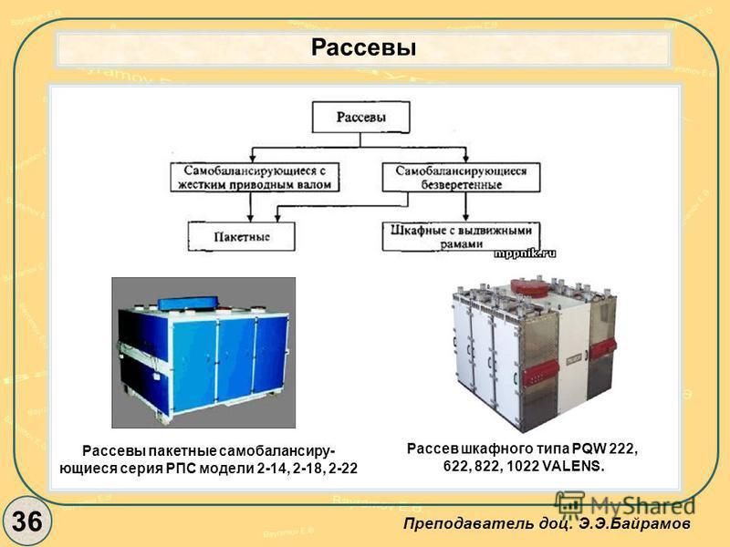 Рассевы 36 Преподаватель доц. Э.Э.Байрамов Рассевы пакетные самобалансиру- ющиеся серия РПС модели 2-14, 2-18, 2-22 Рассев шкафного типа PQW 222, 622, 822, 1022 VALENS.