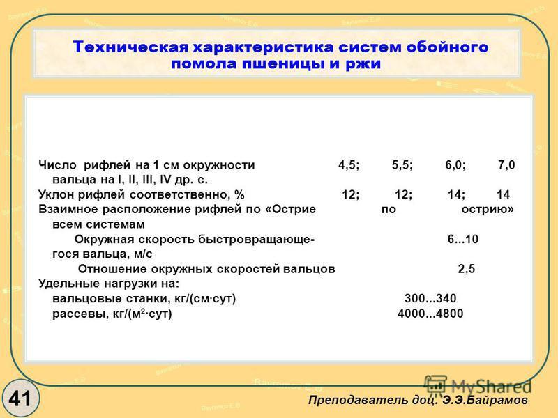 Техническая характеристика систем обойного помола пшеницы и ржи 41 Преподаватель доц. Э.Э.Байрамов Число рифлей на 1 см окружности 4,5; 5,5; 6,0; 7,0 вальца на I, II, III, IV др. с. Уклон рифлей соответственно, % 12; 12; 14; 14 Взаимное расположение