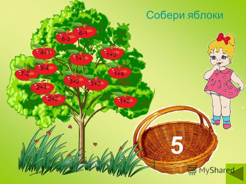 Собери яблоки 3+26-11+41+3 1+24+1 2+2 1+17-29-4 8-3 2+43+3 5