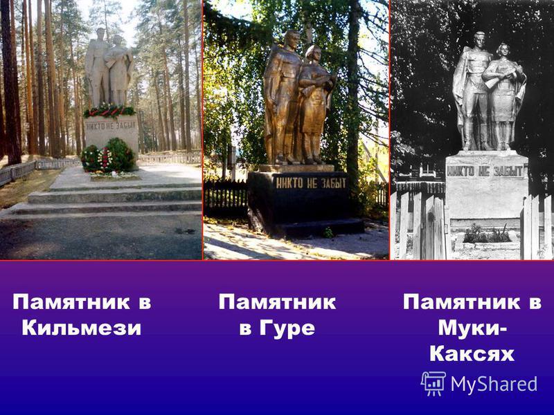 Памятник в Кильмези Памятник в Гуре Памятник в Муки- Каксях
