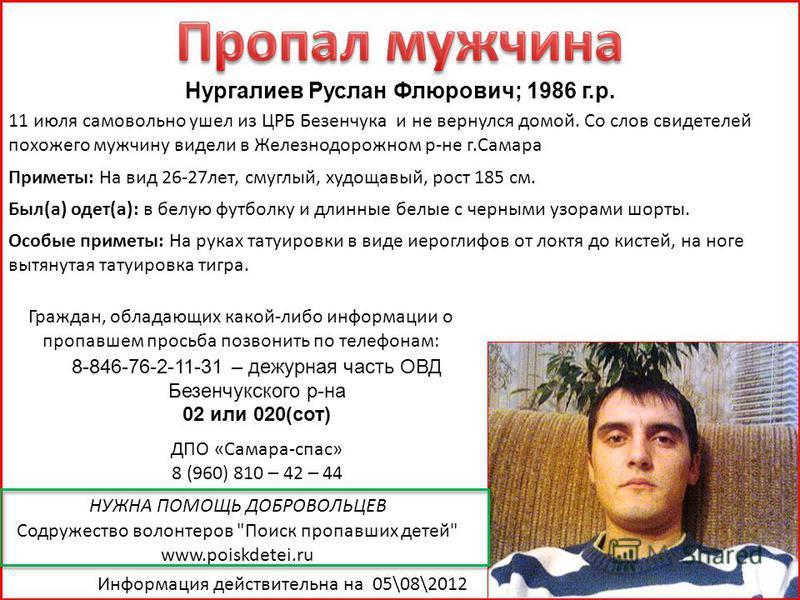 Нургалиев Руслан Флюрович; 1986 г.р. 11 июля самовольно ушел из ЦРБ Безенчука и не вернулся домой. Со слов свидетелей похожего мужчину видели в Железнодорожном р-не г.Самара Приметы: На вид 26-27 лет, смуглый, худощавый, рост 185 см. Был(а) одет(а):