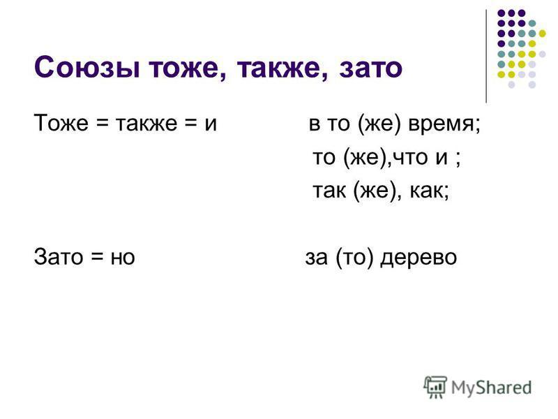 Союзы тоже, также, зато Тоже = также = и в то (же) время; то (же),что и ; так (же), как; Зато = но за (то) дерево