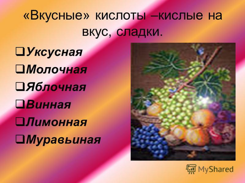 «Вкусные» кислоты –кислые на вкус, сладки. Уксусная Молочная Яблочная Винная Лимонная Муравьиная