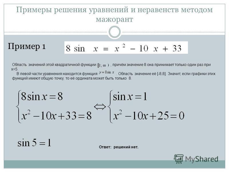 Примеры решения уравнений и неравенств методом мажорант Пример 1 Область значений этой квадратичной функции, причём значение 8 она принимает только один раз при х=5. В левой части уравнения находится функция. Область значение её [-8,8]. Значит, если