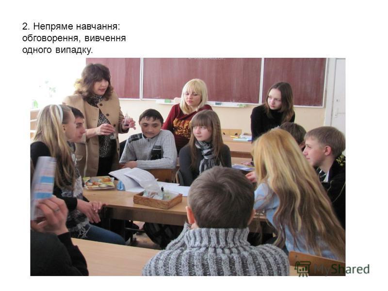 2. Непряме навчання: обговорення, вивчення одного випадку.