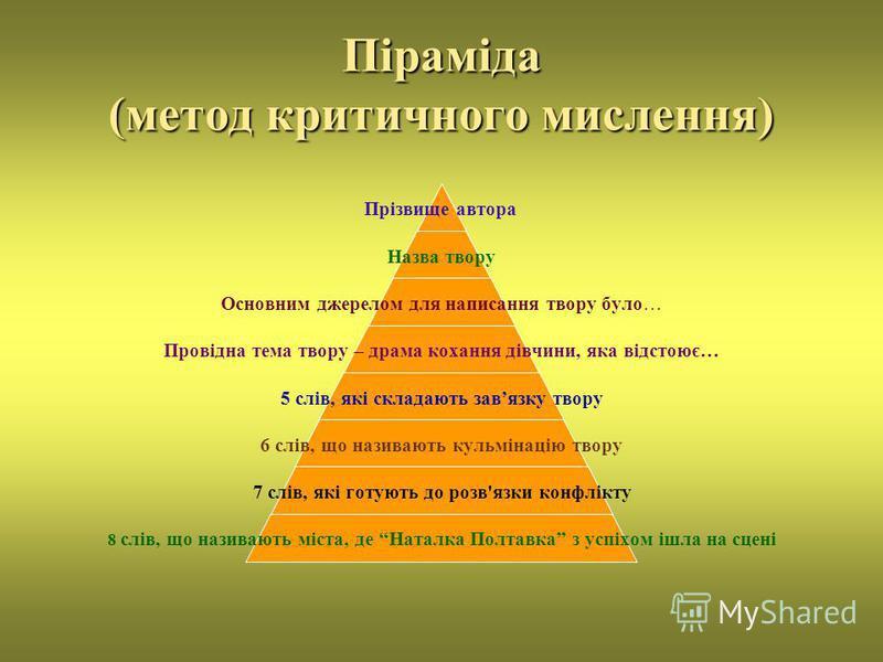 Піраміда (метод критичного мислення) Прізвище автора Назва твору Основним джерелом для написання твору було… Провідна тема твору – драма кохання дівчини, яка відстоює… 5 слів, які складають завязку твору 6 слів, що називають кульмінацію твору 7 слів,