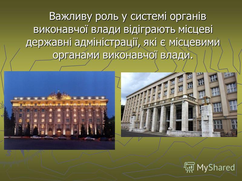 Важливу роль у системі органів виконавчої влади відіграють місцеві державні адміністрації, які є місцевими органами виконавчої влади.