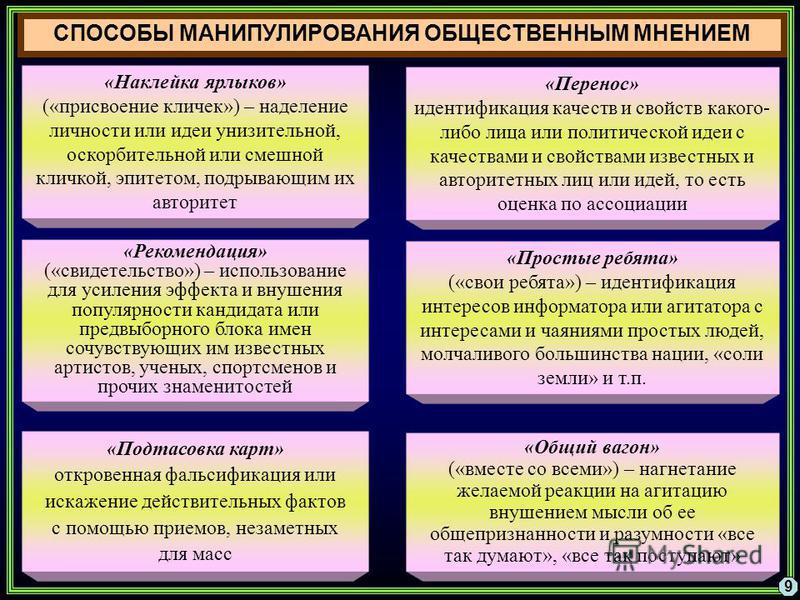 СПОСОБЫ МАНИПУЛИРОВАНИЯ ОБЩЕСТВЕННЫМ МНЕНИЕМ 9 «Наклейка ярлыков» («присвоение кличек») – наделение личности или идеи унизительной, оскорбительной или смешной кличкой, эпитетом, подрывающим их авторитет «Перенос» идентификация качеств и свойств каког