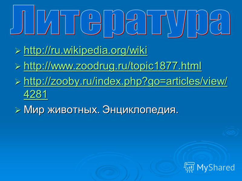 http://ru.wikipedia.org/wiki http://ru.wikipedia.org/wiki http://ru.wikipedia.org/wiki http://www.zoodrug.ru/topic1877. html http://www.zoodrug.ru/topic1877. html http://www.zoodrug.ru/topic1877. html http://zooby.ru/index.php?go=articles/view/ 4281