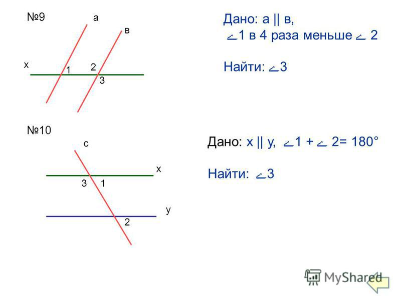 9 х 1 2 3 а в Дано: а || в, 1 в 4 раза меньше 2 Найти: 3 10 с х у 31 2 Дано: х || у, 1 + 2= 180° Найти:3