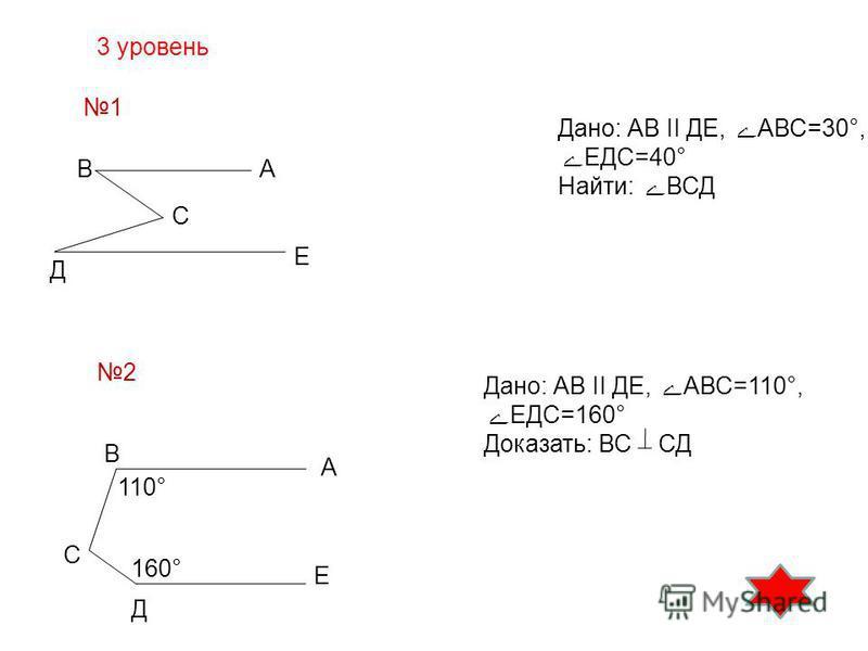 3 уровень 1 В В Д Д С С А А Е Е 110° 160° Дано: АВ II ДЕ, АВС=30°, ЕДС=40° Найти: ВСД 2 Дано: АВ II ДЕ, АВС=110°, ЕДС=160° Доказать: ВС СД