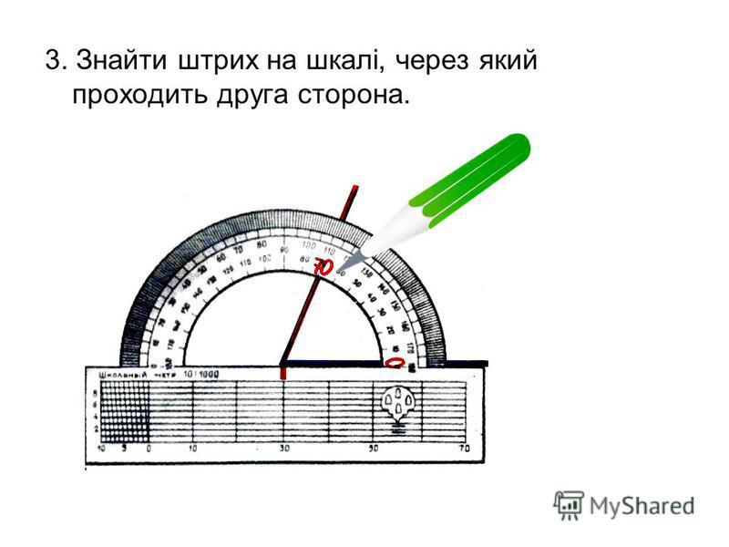 2. Розташувати транспортир так, щоб одна з сторін кута проходила через початок відліку на шкалі транспортира ( тобто сумістити з 0º).