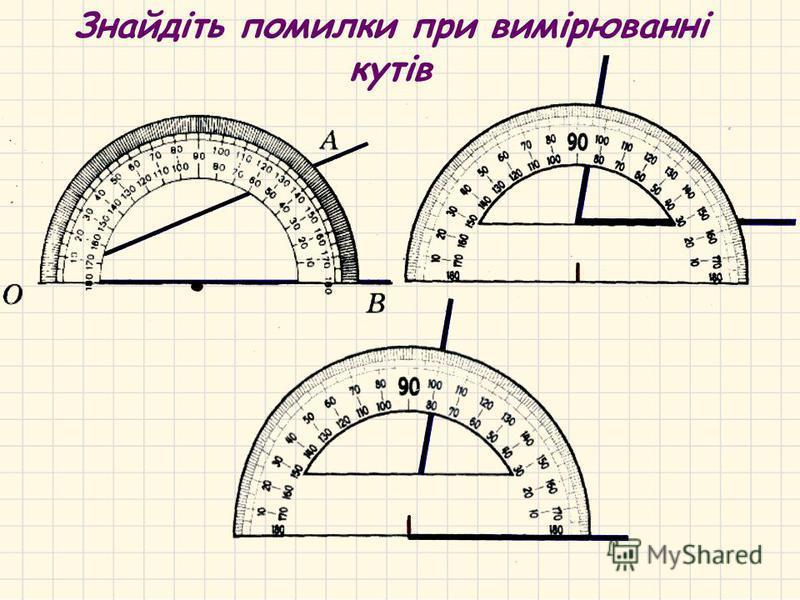 Алгоритм вимірювання кутів Підведемо підсумки: А О В АОВ=50