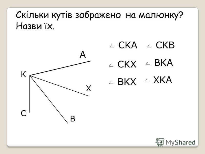Назви кути, зображені на малюнку P F S А К С L N M