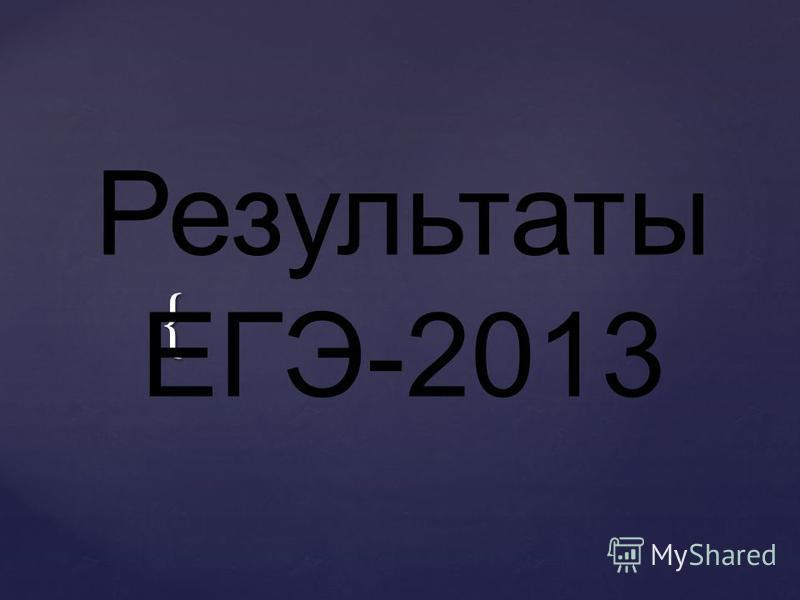 { Результаты ЕГЭ-2013