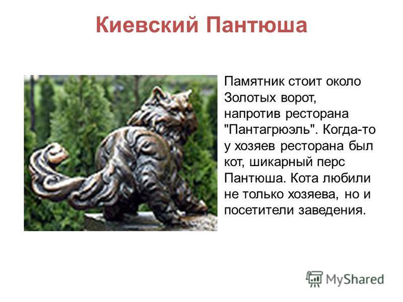 Киевский Пантюша Памятник стоит около Золотых ворот, напротив ресторана Пантагрюэль. Когда-то у хозяев ресторана был кот, шикарный перс Пантюша. Кота любили не только хозяева, но и посетители заведения.