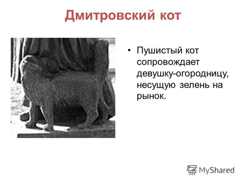Дмитровский кот Пушистый кот сопровождает девушку-огородницу, несущую зелень на рынок.