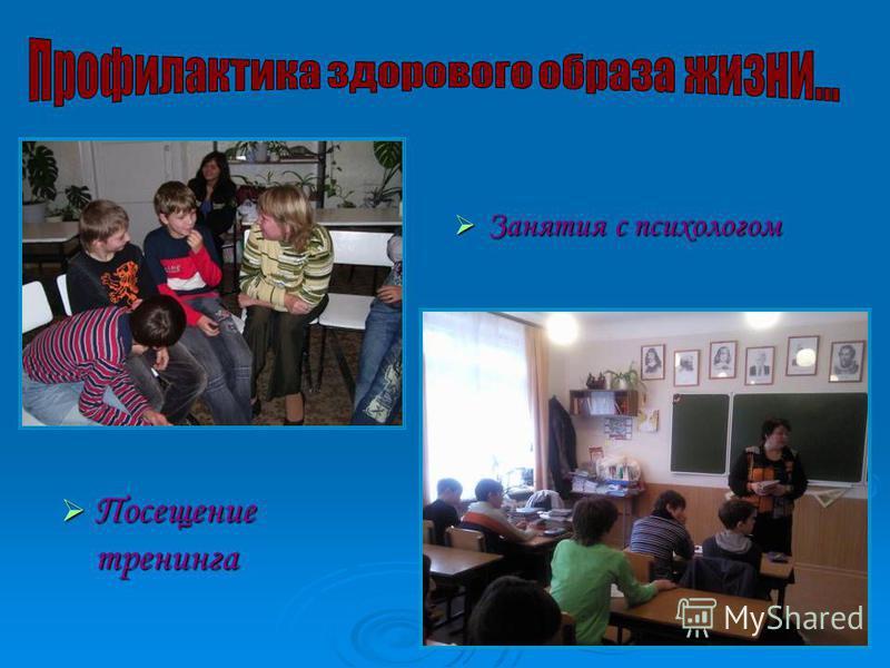 Посещение тренинга Занятия с психологом