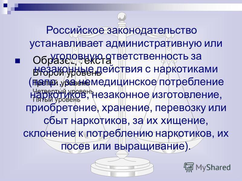 Образец текста Второй уровень Третий уровень Четвертый уровень Пятый уровень Российское законодательство устанавливает административную или уголовную ответственность за незаконные действия с наркотиками (напр., за немедицинское потребление наркотиков