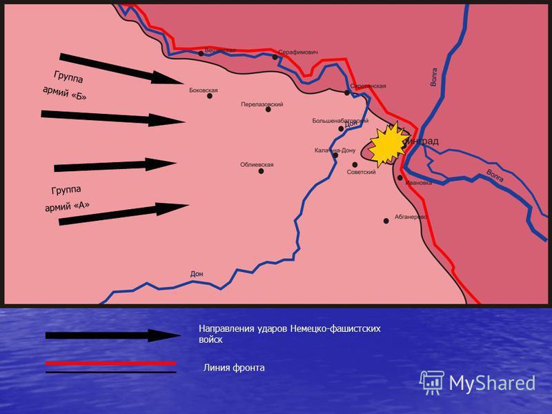 Группа армий «Б» Группа армий «А» Направления ударов Немецко-фашистских войск Линия фронта