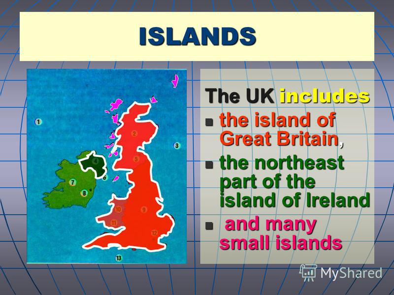 The UK includes the island of Great Britain, the island of Great Britain, the northeast part of the island of Ireland the northeast part of the island of Ireland and many small islands and many small islands ISLANDS