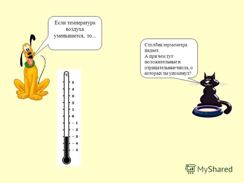 Если температура воздуха уменьшается, то... Столбик термометра падает. А при чем тут положительные и отрицательные числа, о которых ты упомянул?