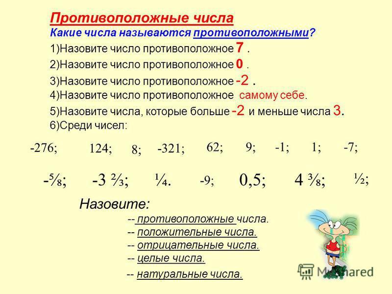 Противоположные числа Какие числа называются противоположными? 1)Назовите число противоположное 7. 2)Назовите число противоположное 0. 3)Назовите число противоположное -2. 4)Назовите число противоположное самому себе. 5)Назовите числа, которые больше