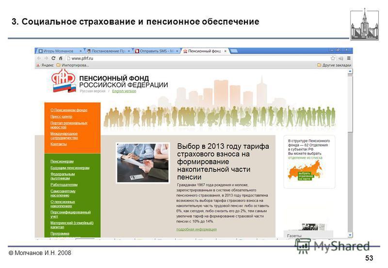 53 Молчанов И.Н. 2008 3. Социальное страхование и пенсионное обеспечение