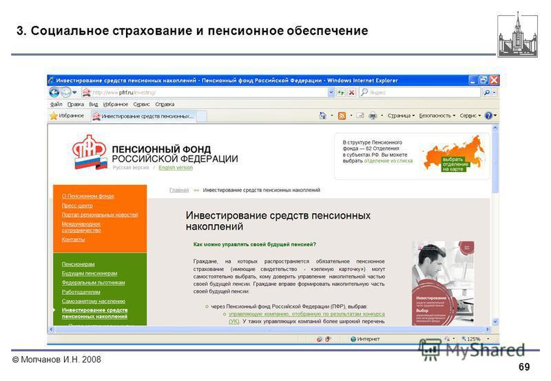 69 Молчанов И.Н. 2008 3. Социальное страхование и пенсионное обеспечение