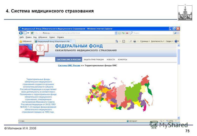 75 Молчанов И.Н. 2008 4. Система медицинского страхования