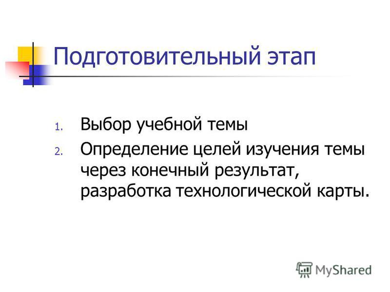 Подготовительный этап 1. Выбор учебной темы 2. Определение целей изучения темы через конечный результат, разработка технологической карты.