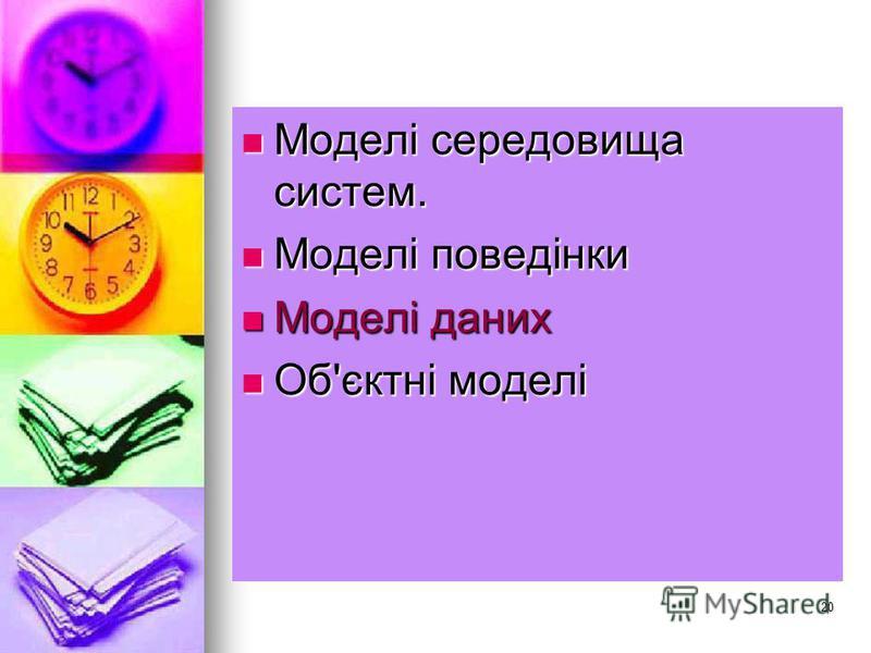 20 Моделі середовища систем. Моделі середовища систем. Моделі поведінки Моделі поведінки Моделі даних Моделі даних Об'єктні моделі Об'єктні моделі