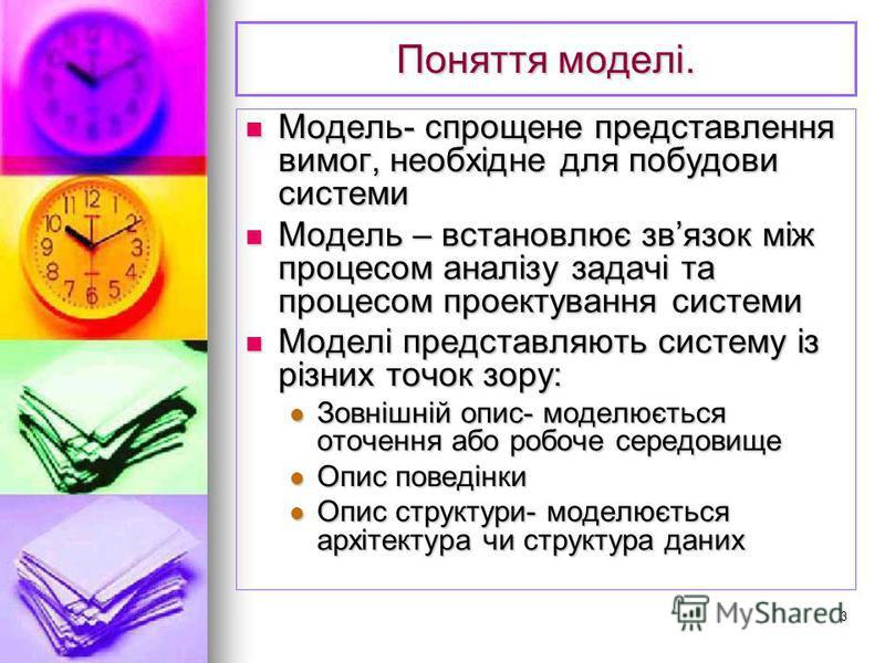 3 Поняття моделі. Модель- спрощене представлення вимог, необхідне для побудови системи Модель- спрощене представлення вимог, необхідне для побудови системи Модель – встановлює звязок між процесом аналізу задачі та процесом проектування системи Модель