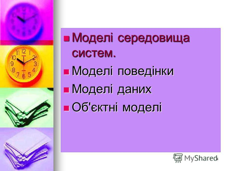 4 Моделі середовища систем. Моделі середовища систем. Моделі поведінки Моделі поведінки Моделі даних Моделі даних Об'єктні моделі Об'єктні моделі