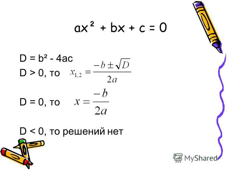 ax² + bx + c = 0 D = b² - 4ac D > 0, то D = 0, то D < 0, то решений нет