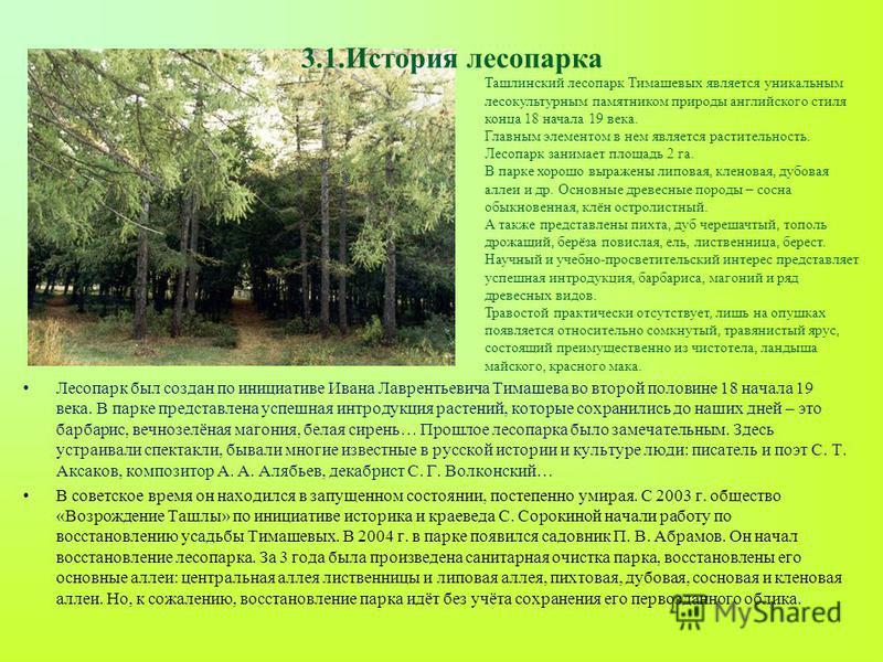 Лесопарк был создан по инициативе Ивана Лаврентьевича Тимашева во второй половине 18 начала 19 века. В парке представлена успешная интродукция растений, которые сохранились до наших дней – это барбарис, вечнозелёная магония, белая сирень… Прошлое лес