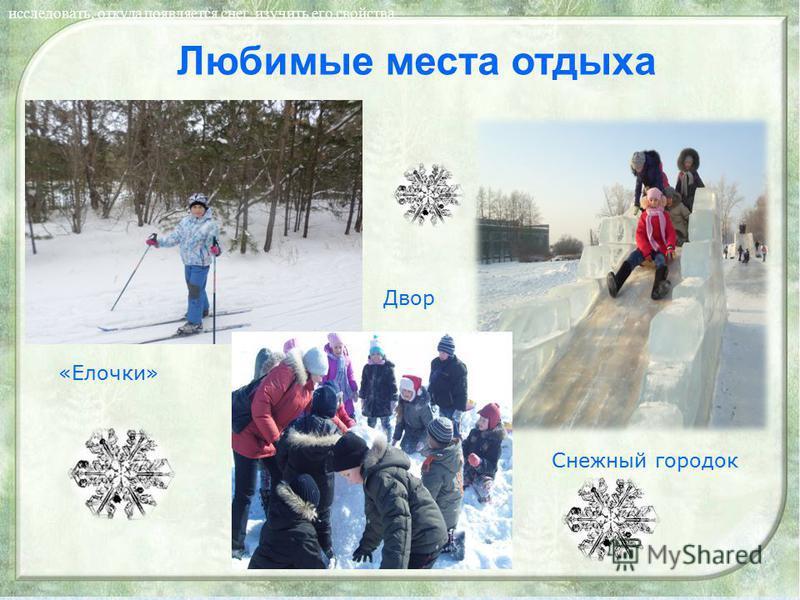 Любимые места отдыха исследовать, откуда появляется снег, изучить его свойства. «Елочки» Двор Снежный городок