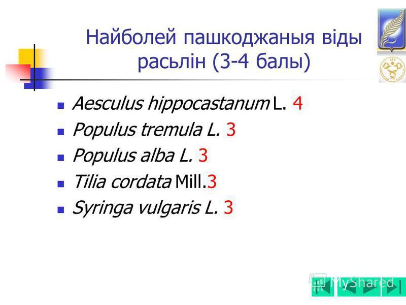 Найболей пашкоджаныя віды расьлін (3-4 балы) Aesculus hippocastanum L. 4 Populus tremula L. 3 Populus alba L. 3 Tilia cordata Mill.3 Syringa vulgaris L. 3